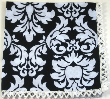 Happy Hanky Black Damask Handkerchief