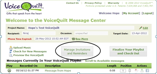 A Screen Shot Of VoiceQuilt's Tool For Email invites